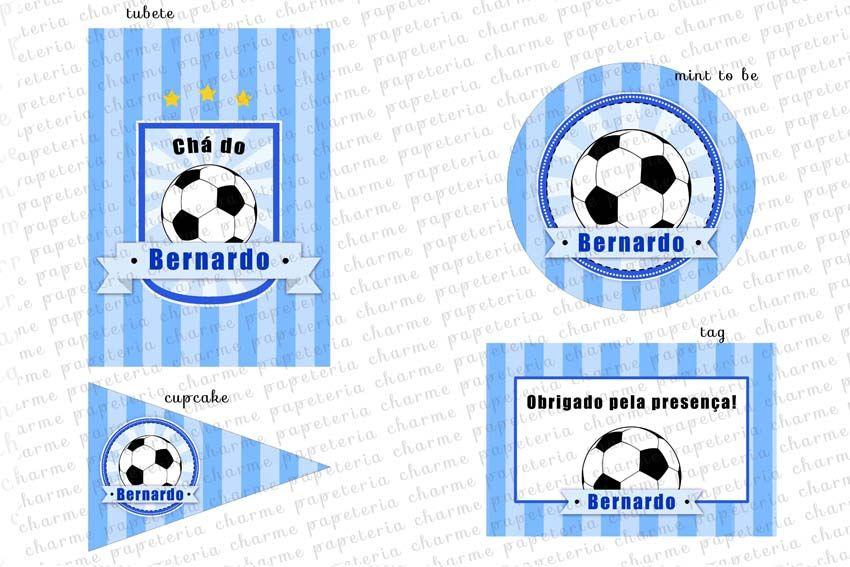 Kit digital Chá de bebê Futebol Charme Papeteria - #futebol #chá de bebê