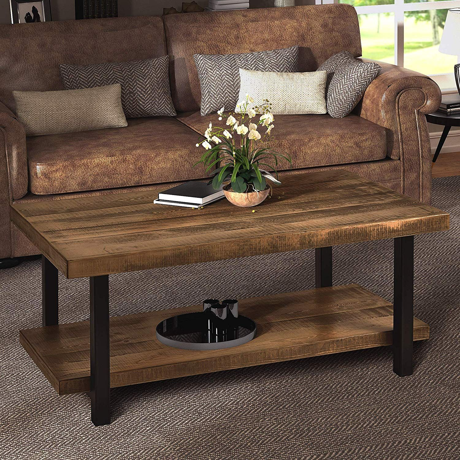 Harper Bright Designs Easy Assembly Hillside Rustic Natural Coffee