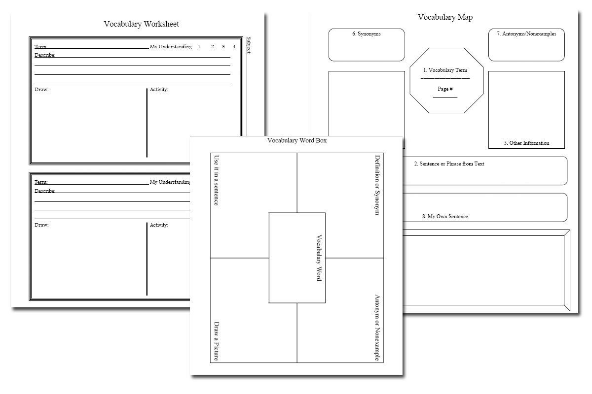 Vocabulary Notebook Pages Free