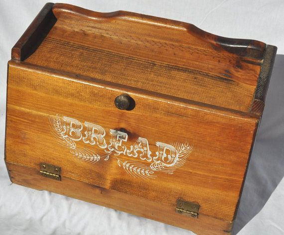 Sold Vintage Wooden Bread Box By Aligras On Etsy Wooden Bread