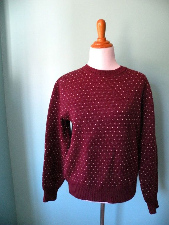 Vintage 1970s Burgundy Knit Pullover Sweater by ATinyKingdom, $35.00