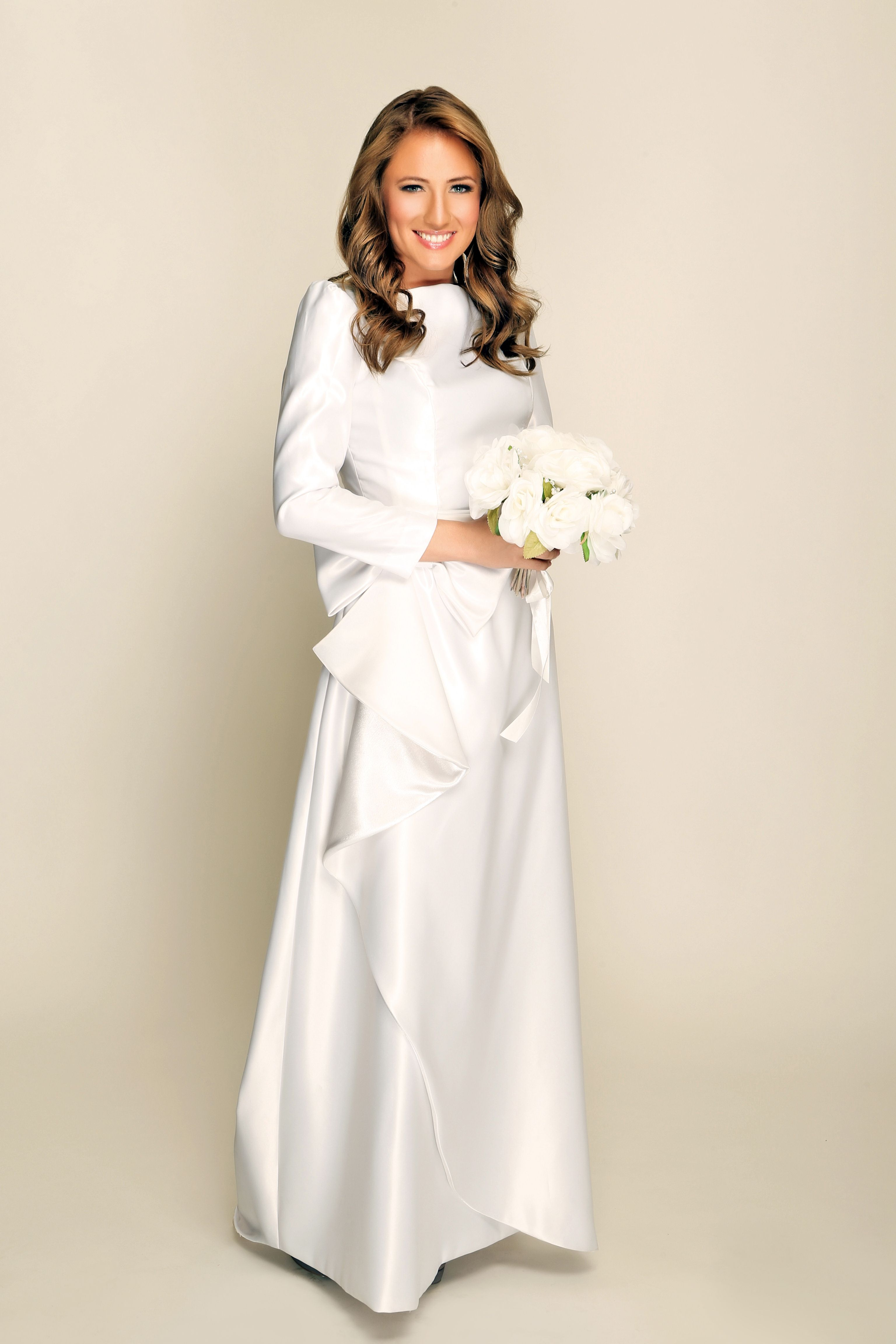 Custom modest wedding dress with sleeves. Designer: Stasia Modest ...