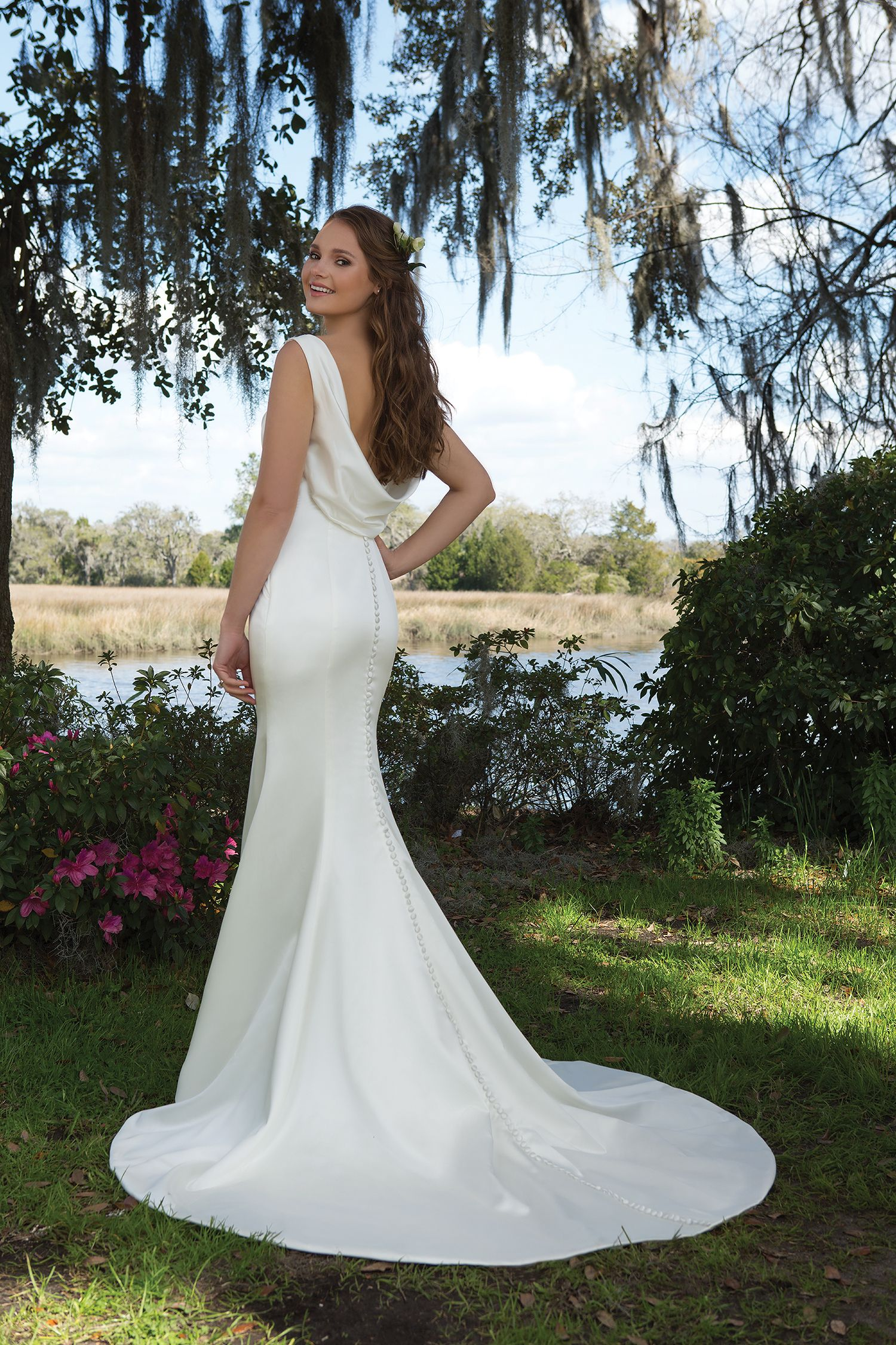 Stunning Stretch satin wedding dress with cowl back and fitted shape Fit and flare wedding gown