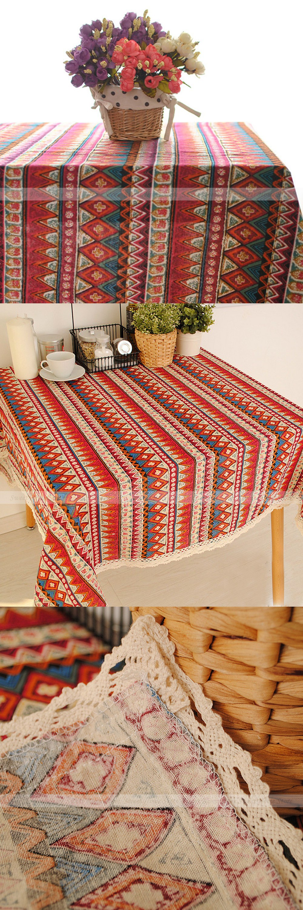 Bohemian style red lace tablecloth restaurant tea bedside table bohemian style red lace tablecloth restaurant tea bedside table cover overlay 60x60cm wedding banquet party home decor watchthetrailerfo
