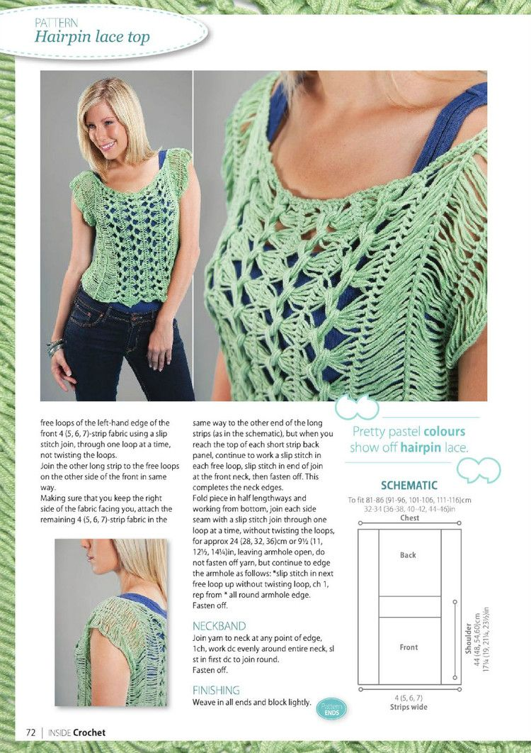 Hairpin lace top on page 70 of magazine. | encaje ganchillo ...