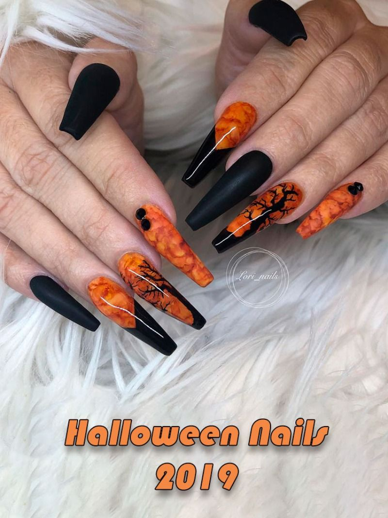 Cute Halloween Acrylic Nails Coffin Shaped Design In 2019 Halloween Nails Scary Nails Halloween Acrylic Nails