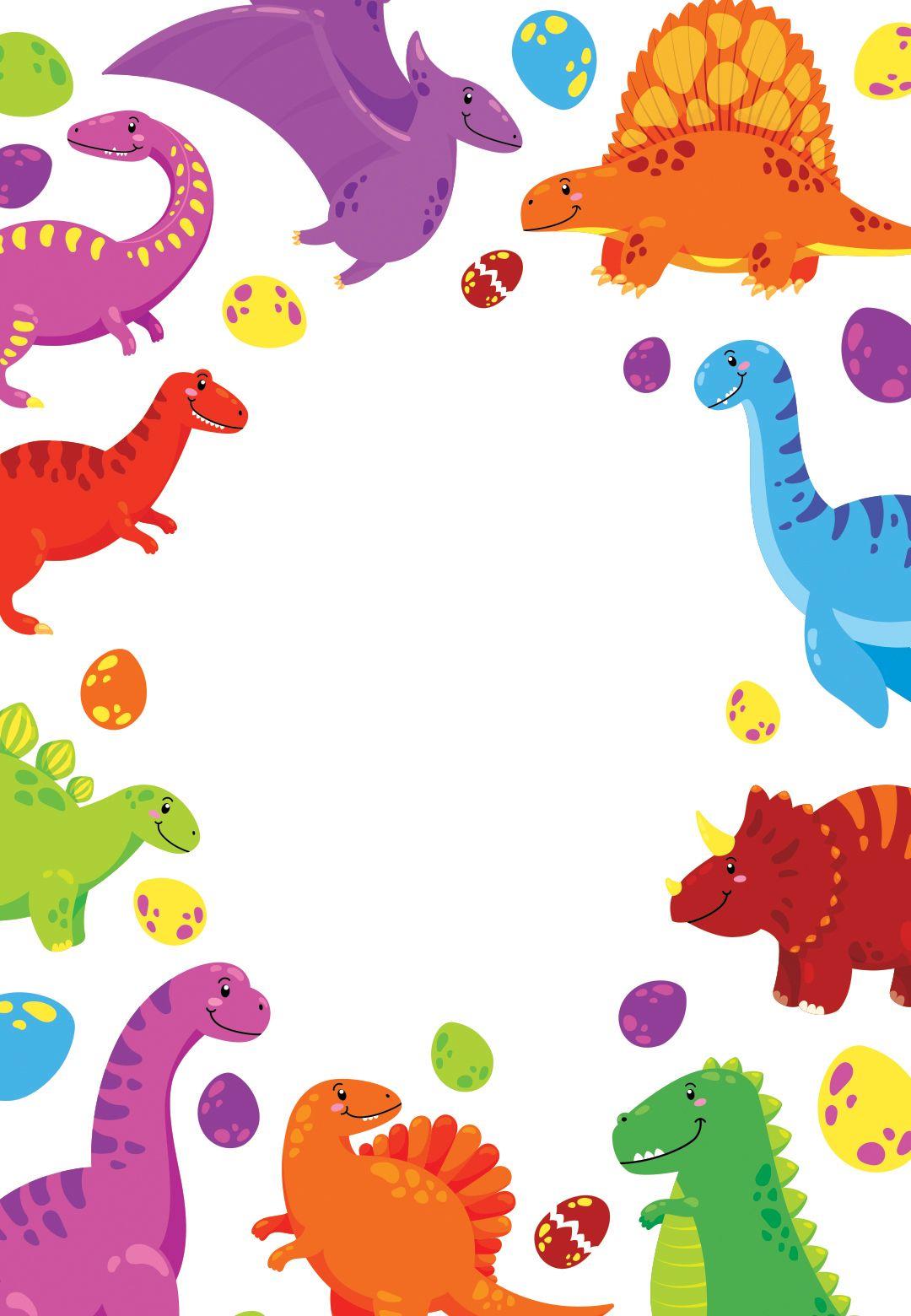 Colorful Dinos Birthday Invitation Template Free Con Imagenes