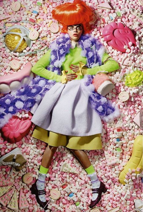 Cara Delevingne is a Barbie doll dipped in #kawaii candies for LOVE magazine Fall Winter 2014 Photography by Liz Collins. #Candy