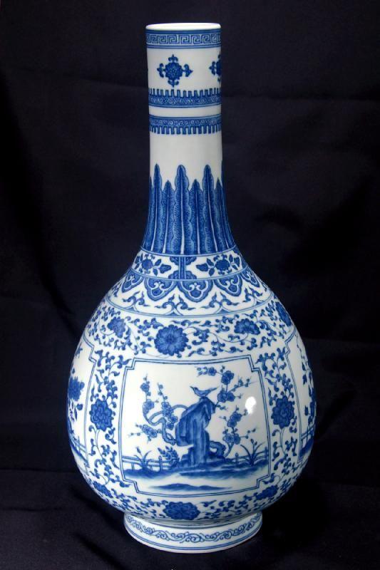 Chinese Ming Dynasty Vase Blue And White Symbolic Design Chinese