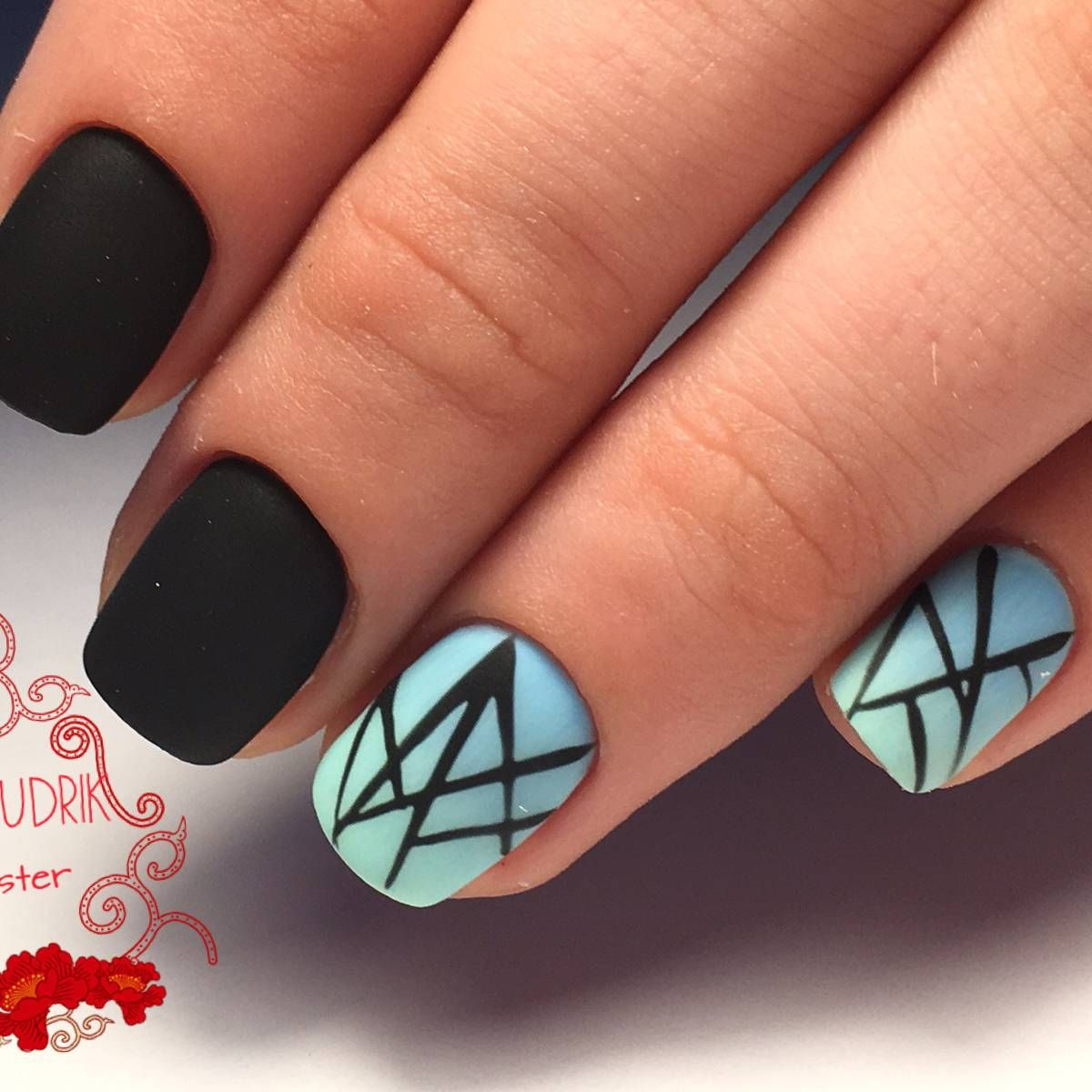 Черный дизайн ногтей 25 на фото. Красивые черно белые ...
