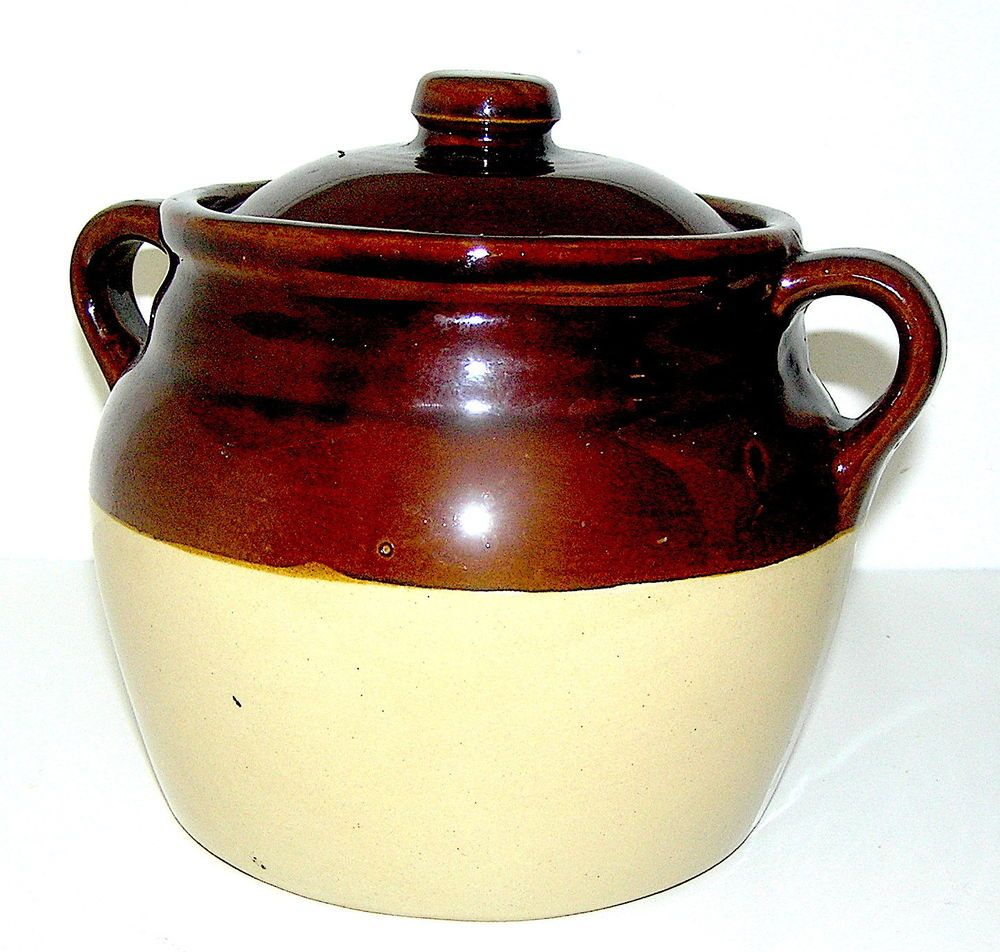 Vintage Ceramic Bean Pot Brown Two Handled Lid Monmouth Ill Usa Maple Leaf Manmouthillinois Primitiveearlyamericanlook Bean Pot Vintage Ceramic Hull Pottery