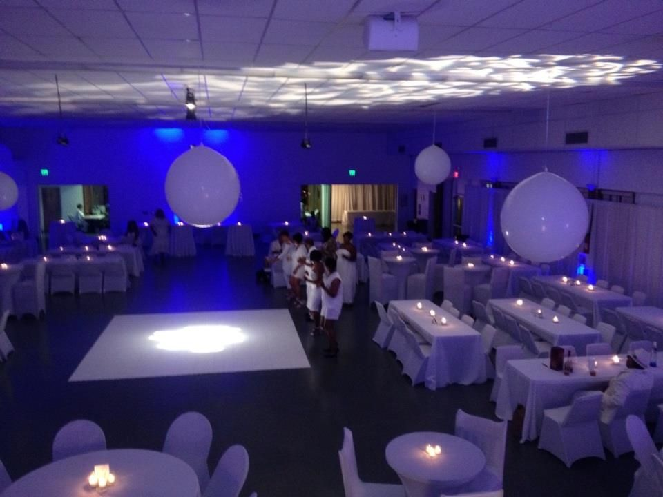 All White Party Decorations Blue Uplighting Elegant