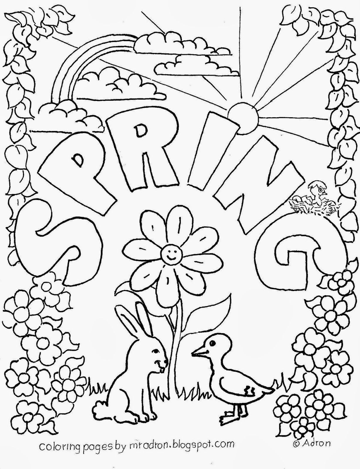 Spring Free Coloring Page For Kids With Images