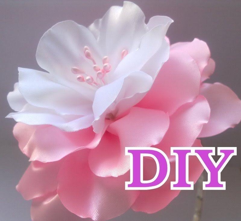 Цветок Канзаши Мастер Класс Своими Руками Flower Кanzashi Hand Made - нежный бело- розовый цветок) #ribbonflower