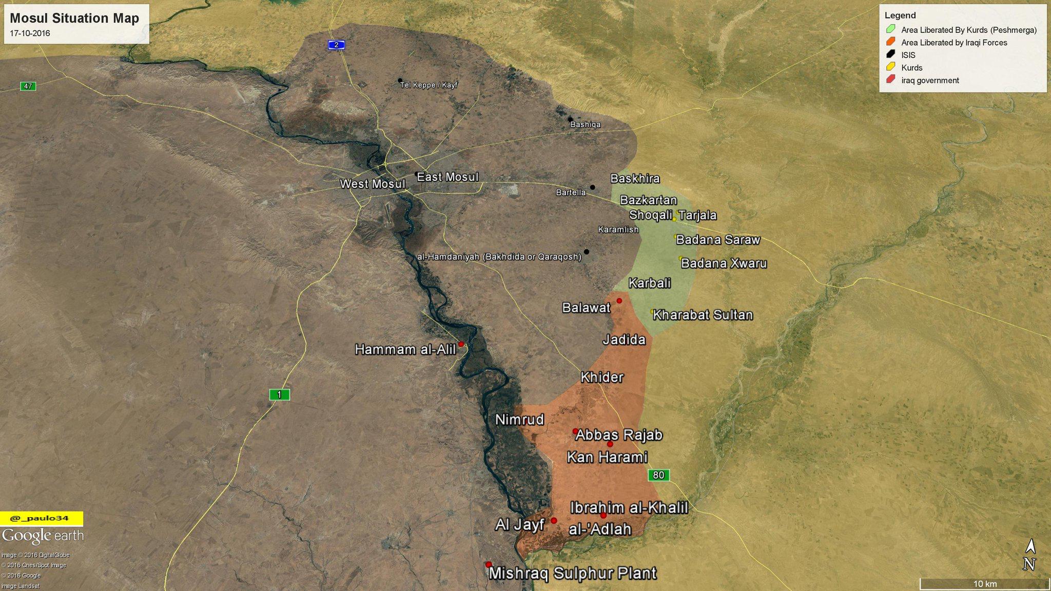 Mosul Situation Map 17 10 2016 Iraq Peshmerga ISF