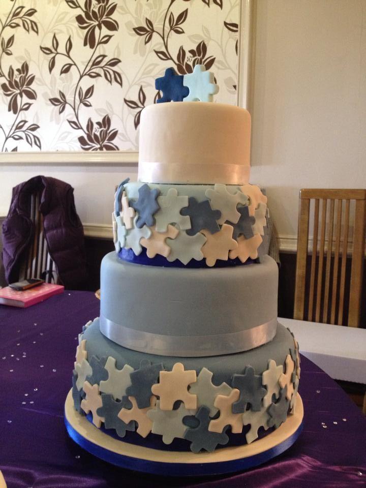 Puzzle Piece Wedding Cake Pastel Blue Peach Cake