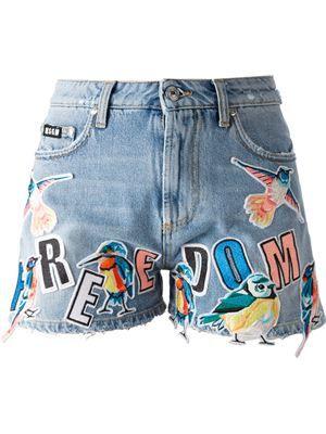 995a6e5b15e Designer Jeans for Women 2015 - Farfetch. MSGM bird patch denim shorts ...