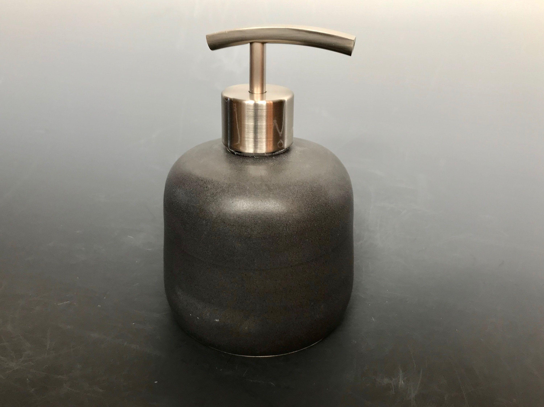 Matte Black Ceramic Soap Lotion Dispenser Brushed Stainless