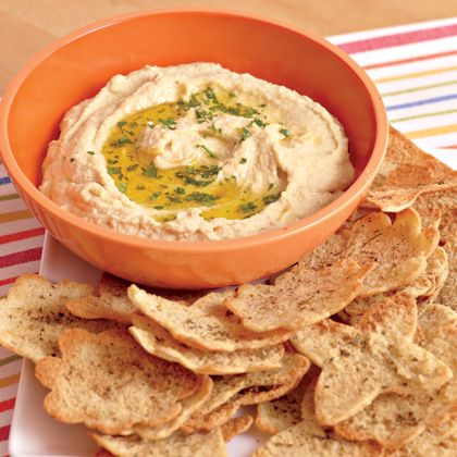 Easy Hummus and Pita Chips  Our tasty combo of savory dip and lightly seasoned, baked chips makes a great snack after school or sports practice.