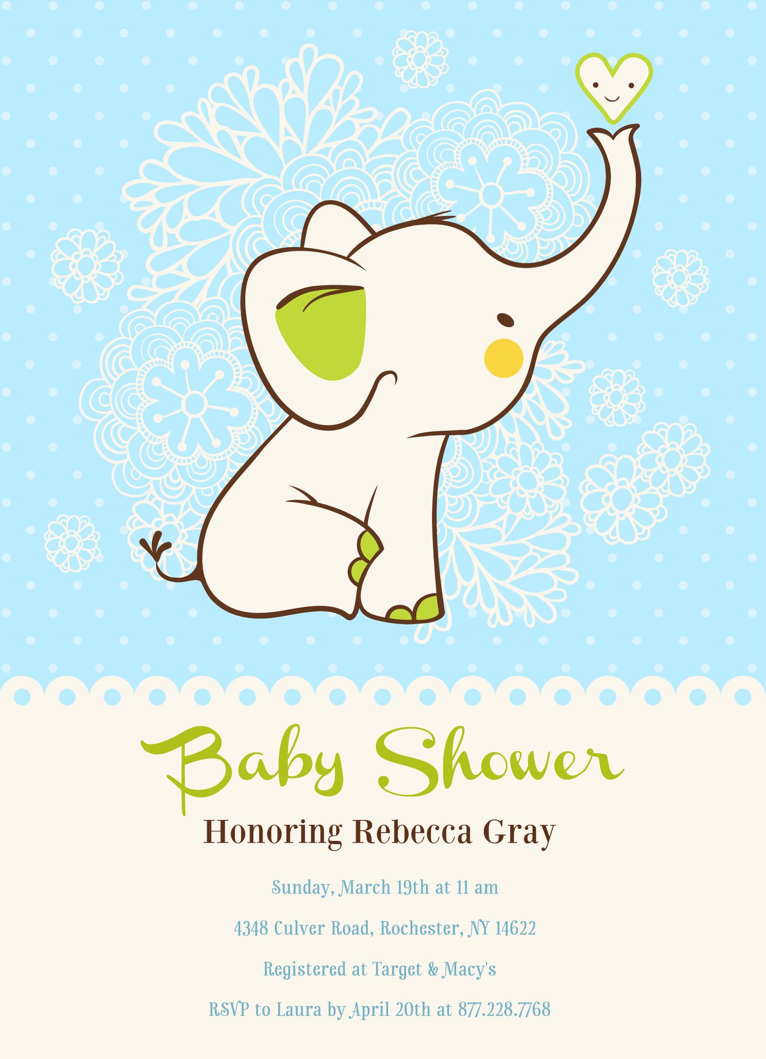 Adorable blue baby elephant! | Baby Shower Invitation | Customizable ...