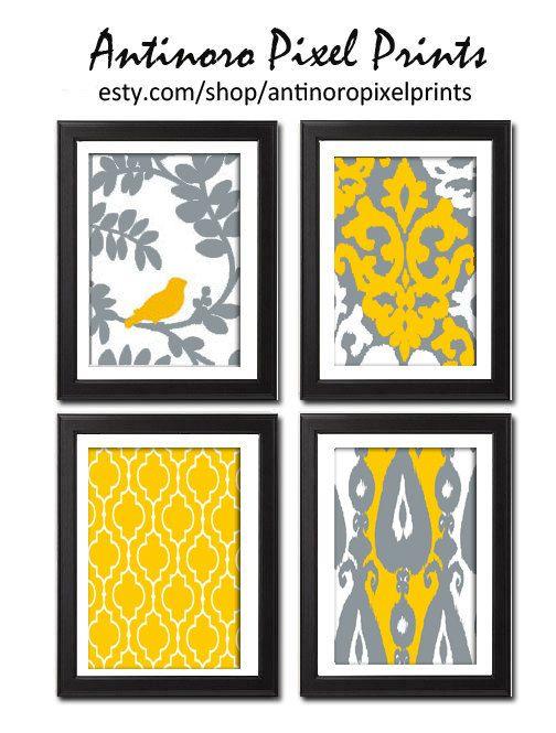 Wall Art Unframed Mustard Yellow Grey Ikat Vintage Modern Flowers ...