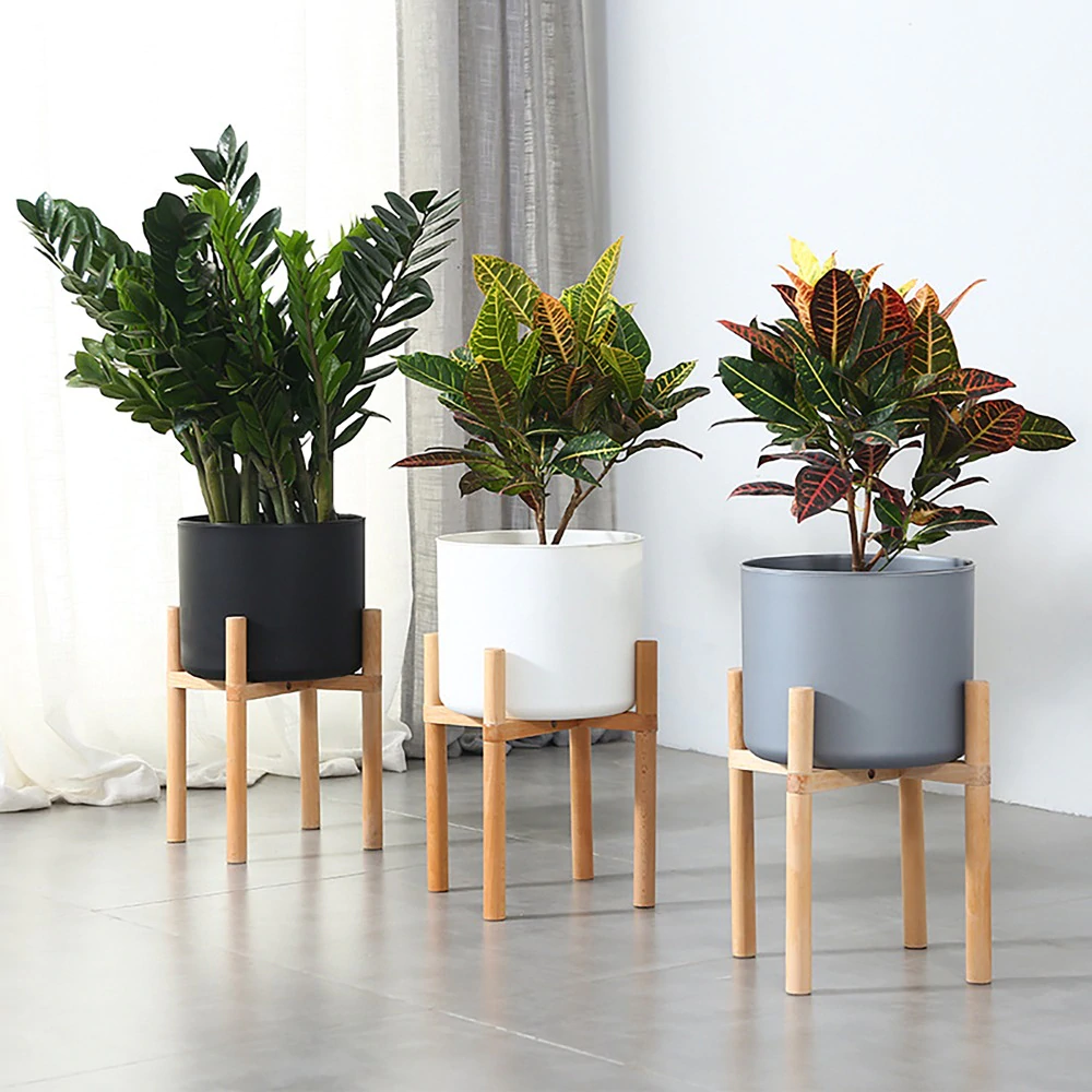 Mid Century 28cm Indoor Plant Flower Pot Planter Stand Assembly Beech Wood Holder Wooden Floor Potted R Wooden Plant Pots Indoor Flower Pots Plant Decor Indoor