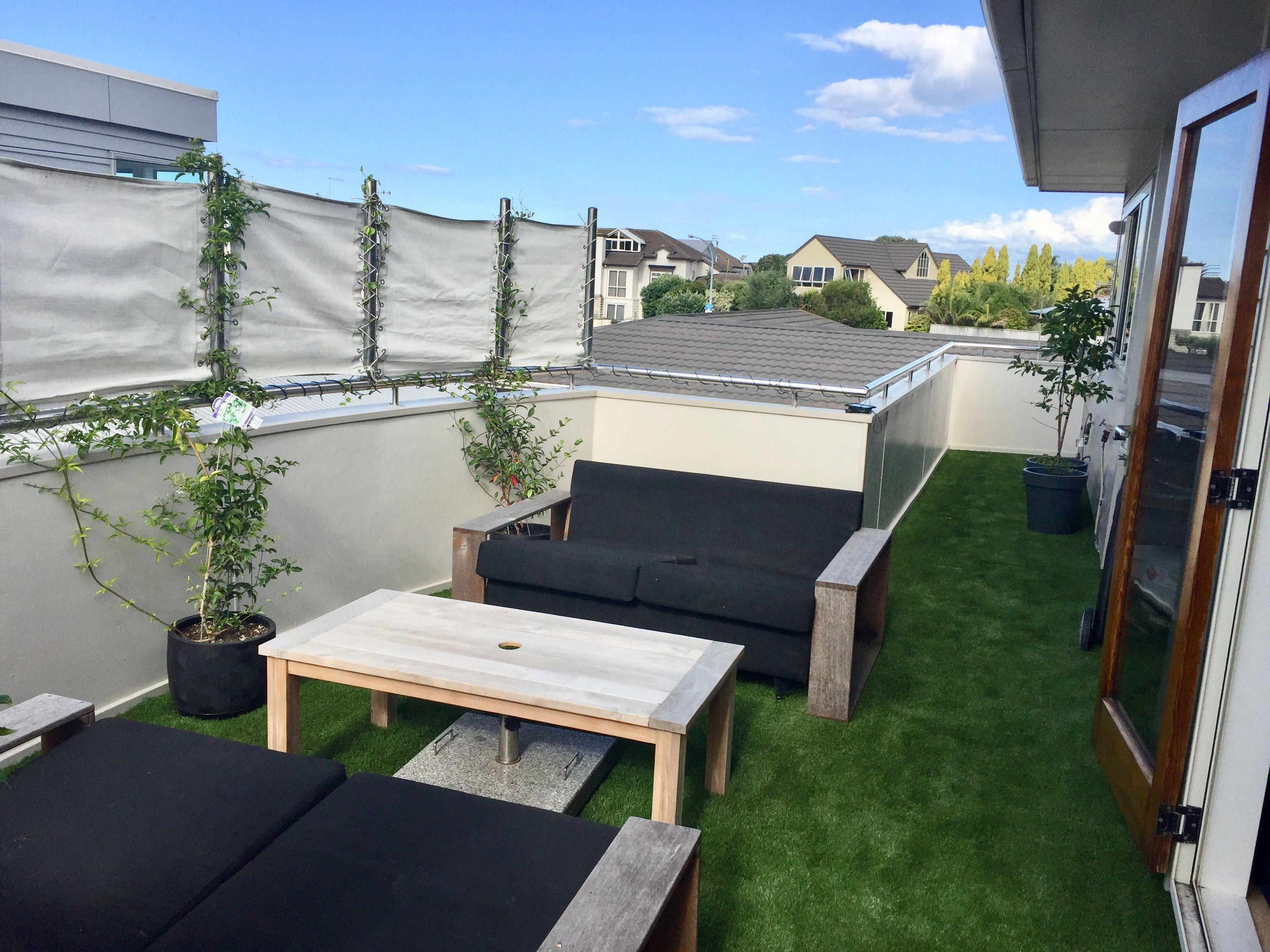 Artificial grass on a balconyveranda outdoor decor