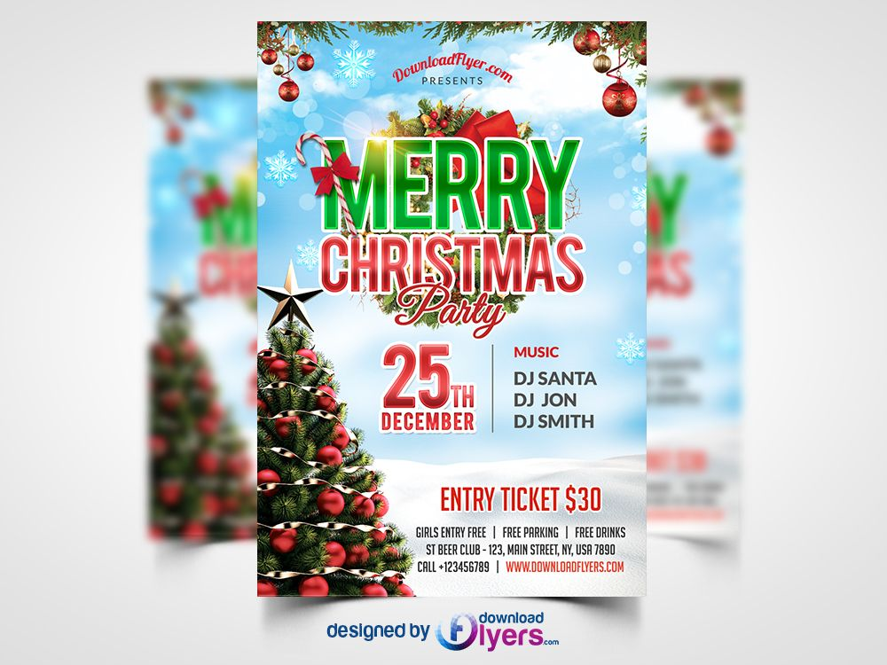 Awesome Christmas Party Flyer Free Psd Template Download Christmas