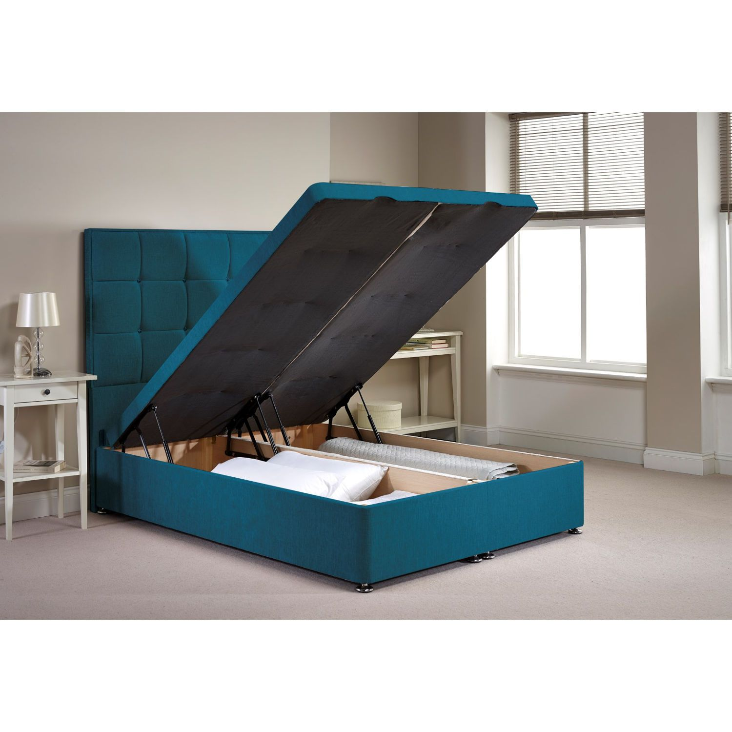 appian ottoman divan bed frame teal chenille fabric super king 6ft