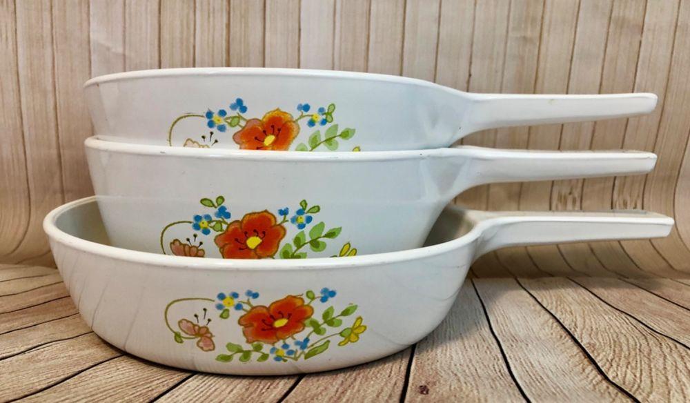 Vintage Corning Ware Wildflower 3 Piece Skillet Bakeware Set
