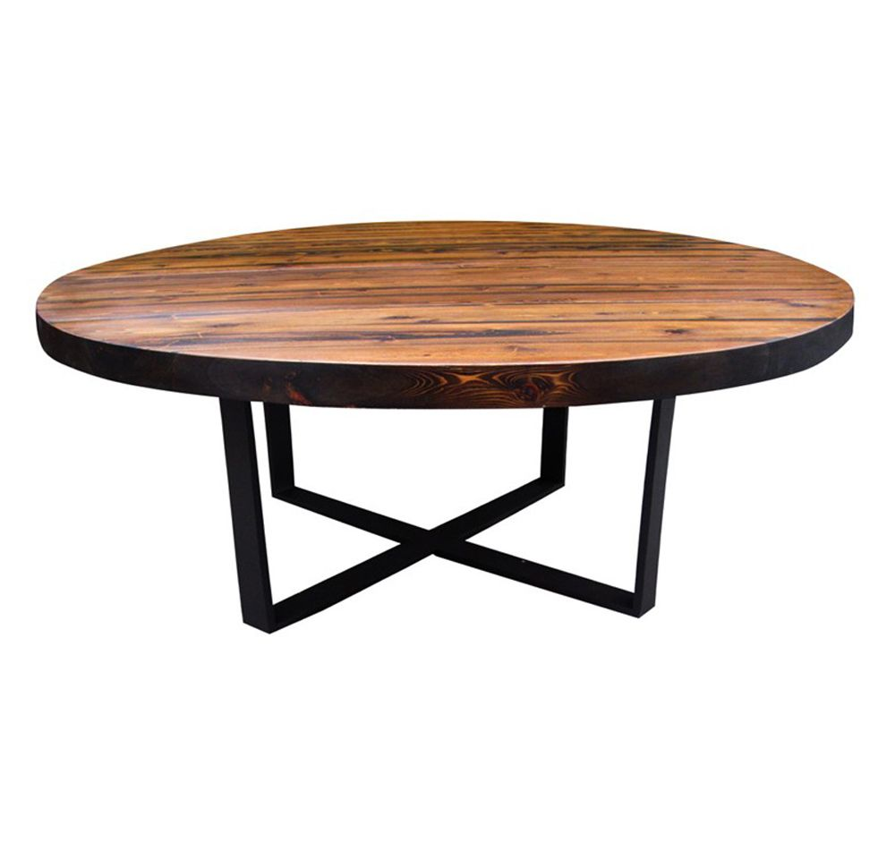 Round Stunning Wood Dining Table With Steel Base. This Item Can Be Made To  Your