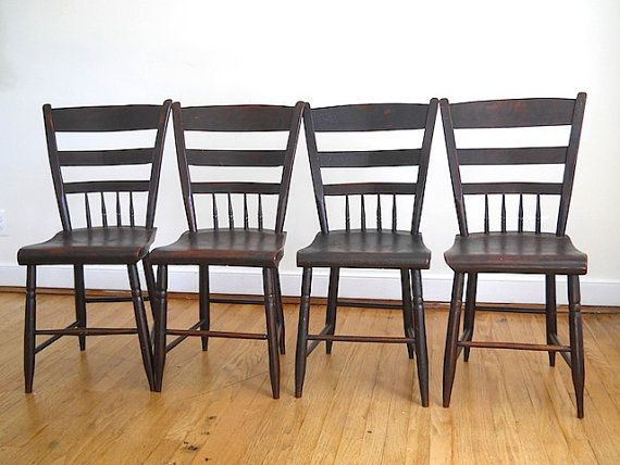 Antique Handmade Rustic Wooden Chairs Lot Of Four Chunk Wooden