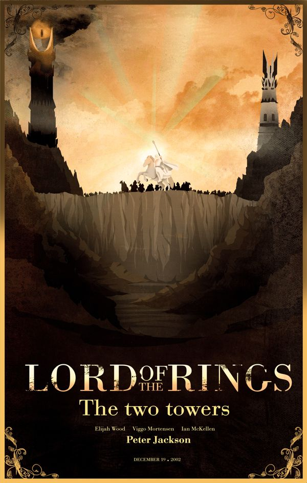 Middle Earth Movie Posters Lord Of The Rings The Hobbit The Two Towers