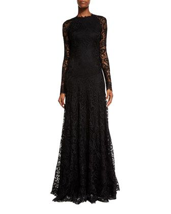 05769b2f08c Long-Sleeve Lace Keyhole Gown Black