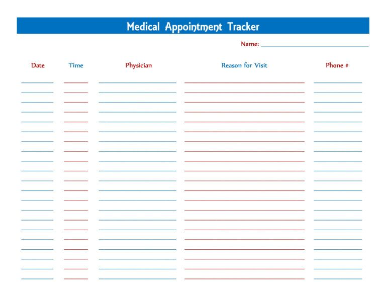 Medical Appointment Tracker Printables Tracker Free Inside Medical Appointment Card Template Free Card Templates Free Medical Help Tracker Free