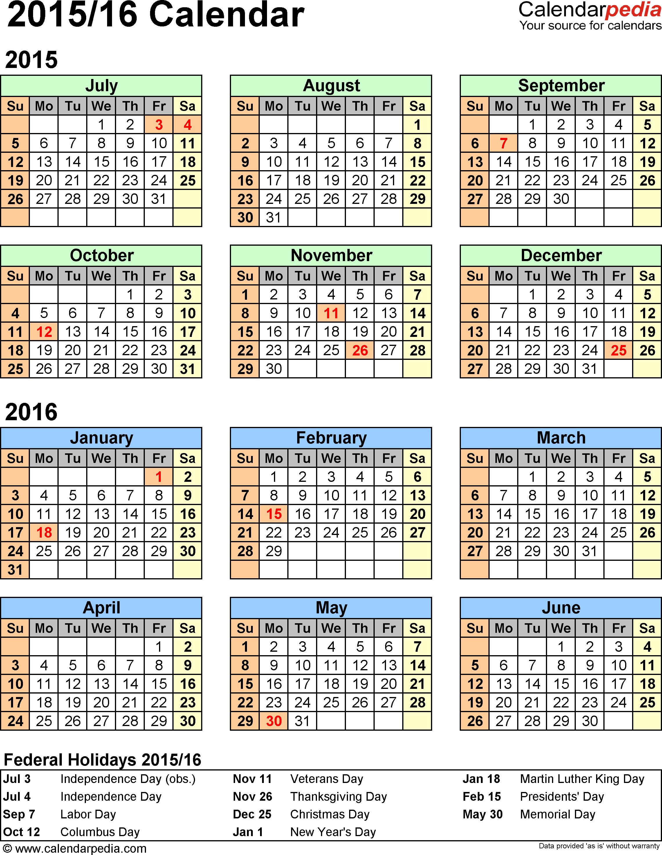 Split Year Calendar 2015 2016 Printable Word Templates Calendar Template Fiscal Calendar Excel Templates