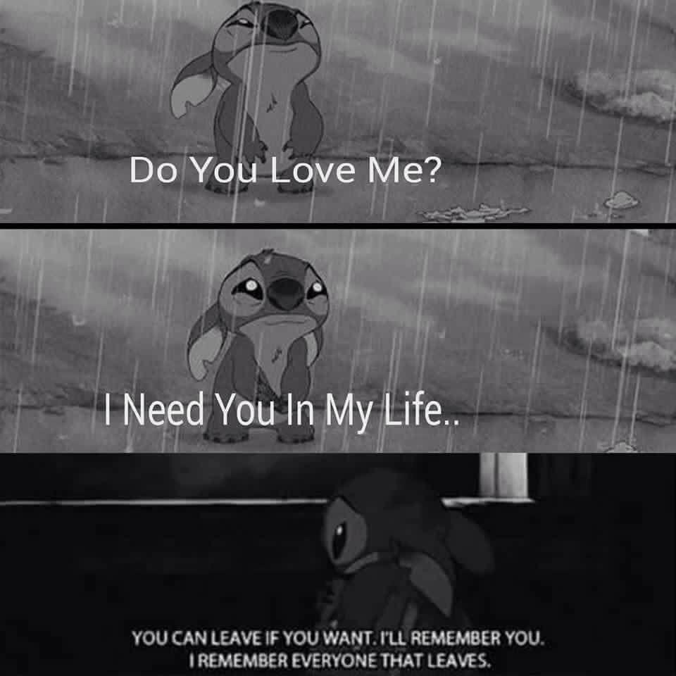 Sad stitch   Movies   Sad disney quotes, Sad anime quotes