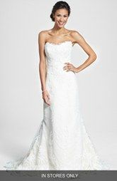 James Clifford Collection Embroidered Appliqué Strapless Satin Mermaid Dress (In Stores Only)
