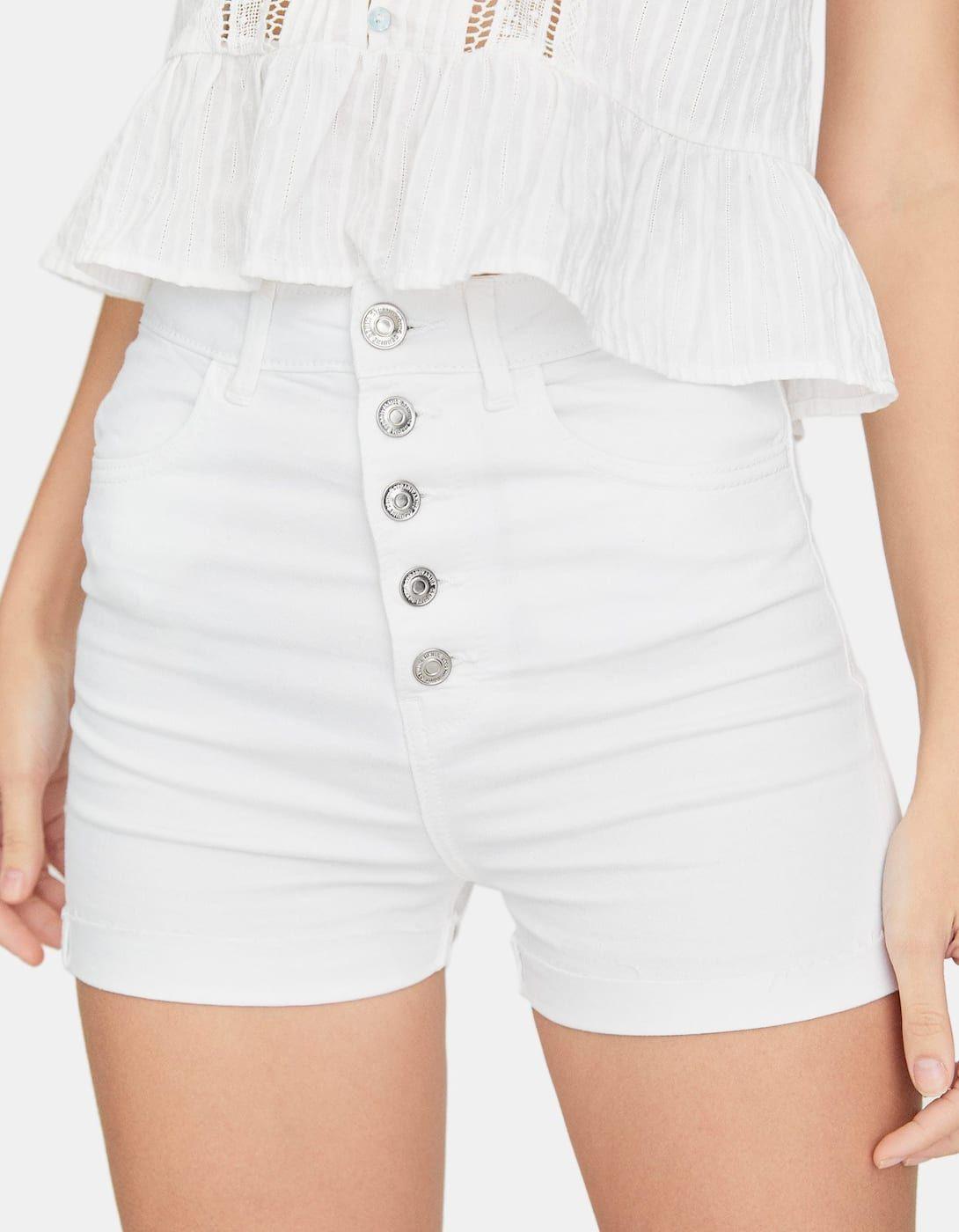 Stradivarius Short Tiro Alto Con Botones Shorts Tiro Alto Moda Para Mujer Pantalones Con Botones