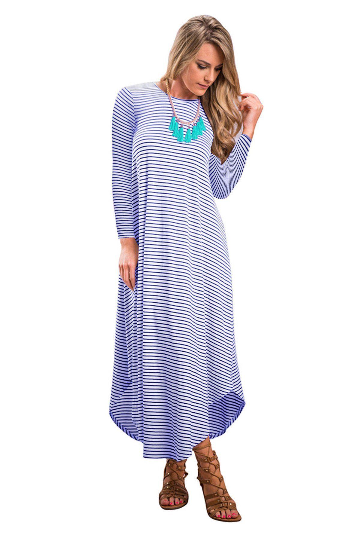 Women Maternity Clothes Jyuan Womens Striped Casual Dress Crew Neck Long Sleeve Loose Long Maxi Dress Striped Casual Dresses Long Maxi Dress Casual Dress [ 1800 x 1200 Pixel ]