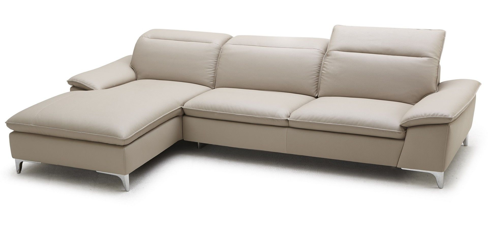 J&M 1911 Sectional Left Beige - The 1911 leather sectional features a well tapered design for an eye catching sleek look. The 1911 is expertly stitched, &* mixes high density foam with three ratchet headrests for maximum comfort.