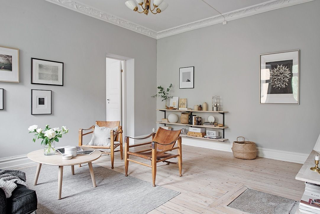 Living Room With Light Grey Walls