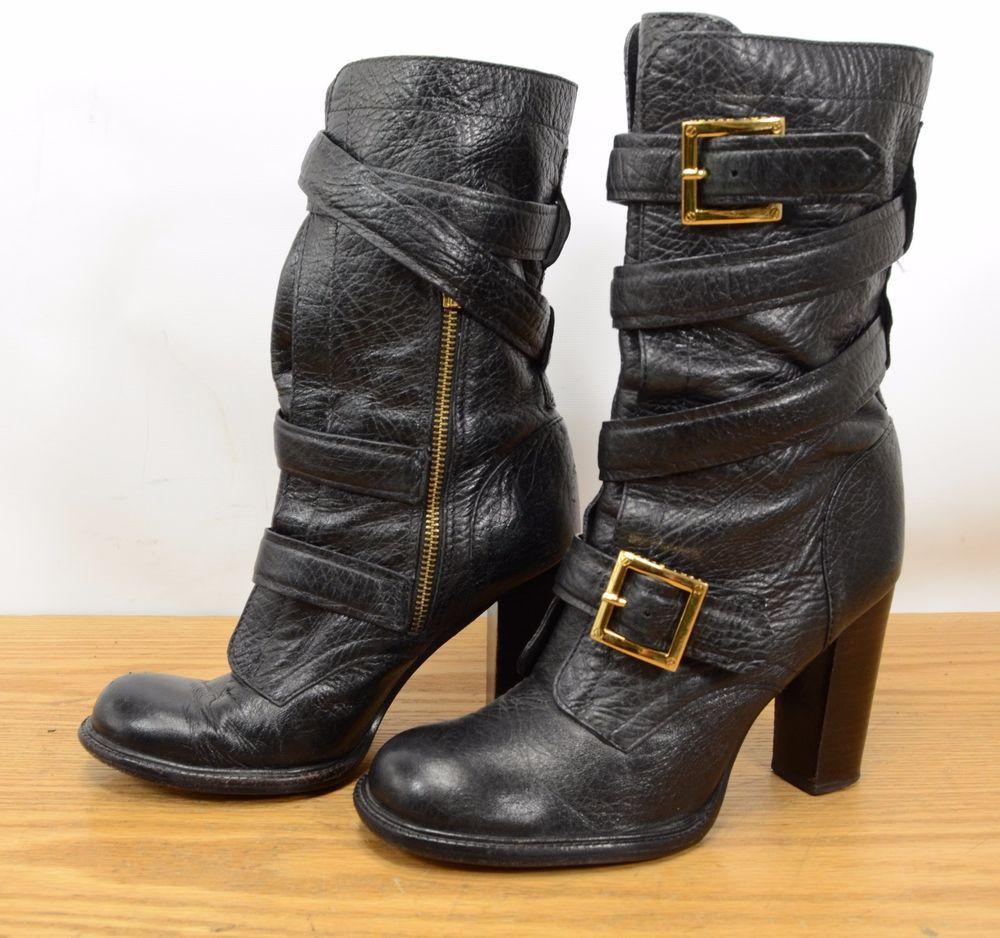 a576a9115a3e Tory Burch Jaden Buckle Womens Sz 8 Leather Side Zip High Heel Mid Calf  Boots  ToryBurch  MidCalfBoots
