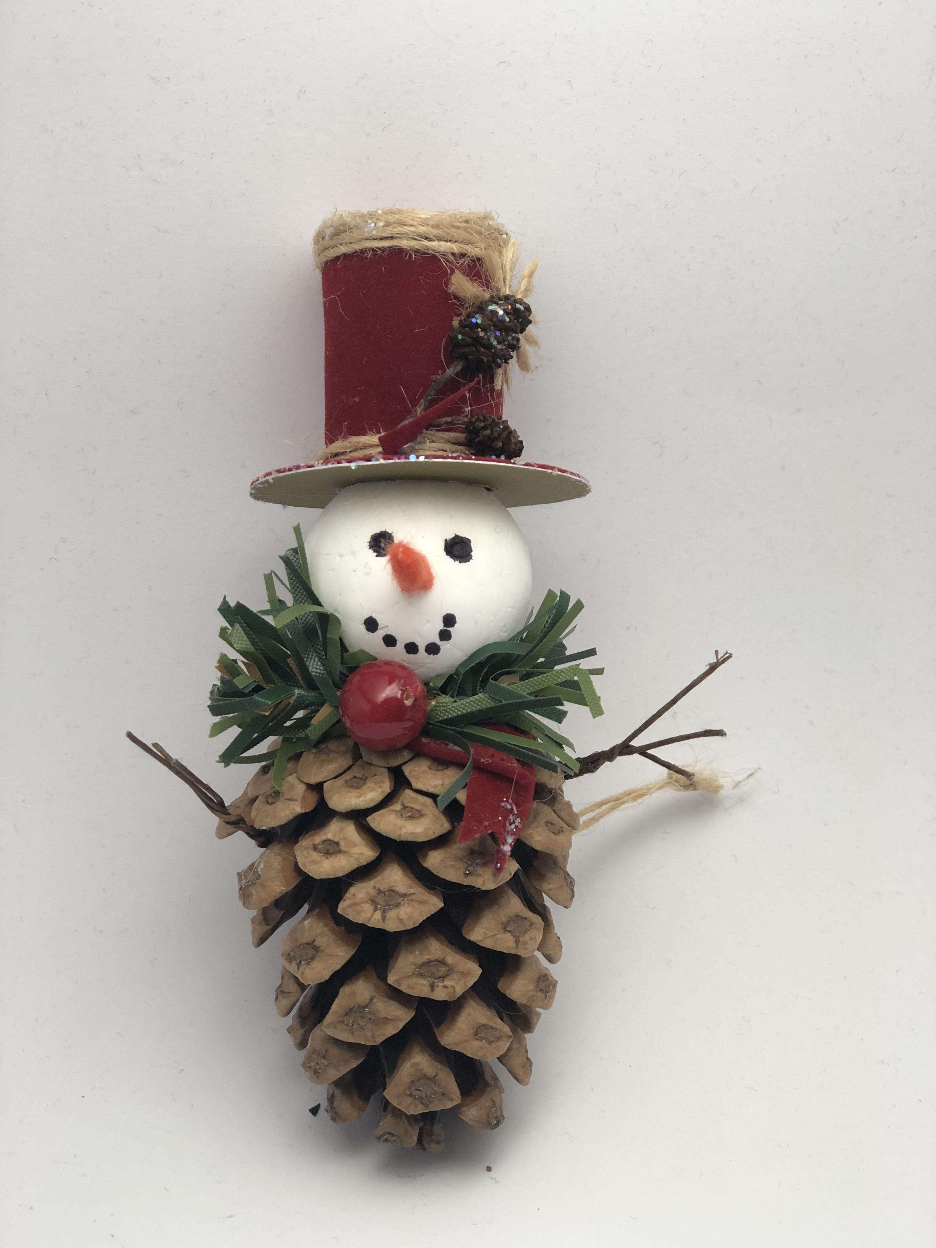Pinecone Snowman Pine Cone Christmas Decorations Christmas Tree Decorations Diy Christmas Crafts