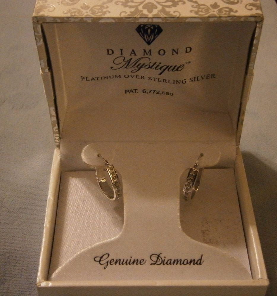Diamond Mystique  Earrings Platinum over Sterling Silver Genuine Diamond #DiamondMystique