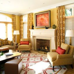 Yellow and red living room ybe  little too also decor rh pinterest
