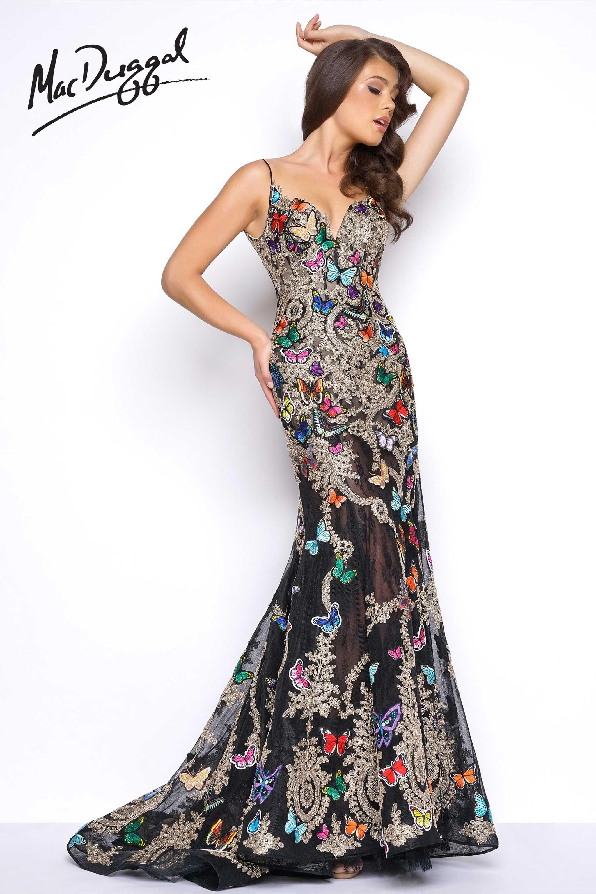 Prom Dress with butterfly appliques  2b52a4232