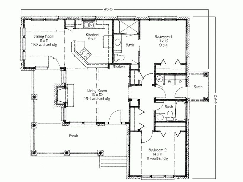 Simple Two Bedrooms House Plans For Small Home