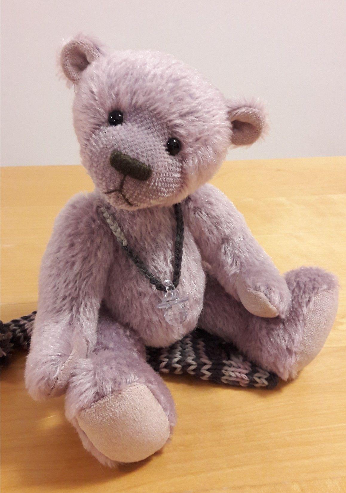 OOAK Teddy Bear mohair cute stuffed toy lilac