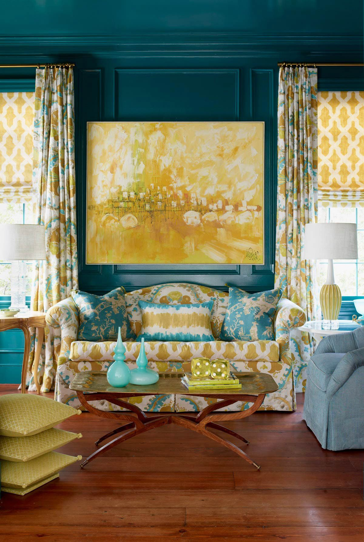 Teal Painted Living Room With Turquoise And Yellow Gold